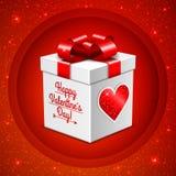 Geschenkbox für Valentinstag auf Funkelnhintergrund Stockfotografie