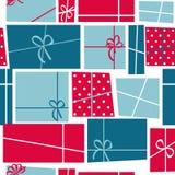 Geschenkbox-Feiertags-nahtloser Muster-Hintergrund Lizenzfreie Stockfotos