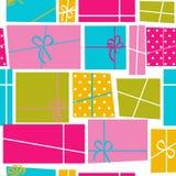 Geschenkbox-Feiertags-nahtloser Muster-Hintergrund Stockfotos