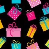 Geschenkbox-Feiertags-nahtloser Muster-Hintergrund Stockbilder