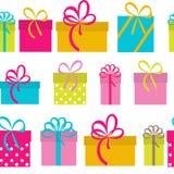 Geschenkbox-Feiertags-nahtloser Muster-Hintergrund Stockfotografie