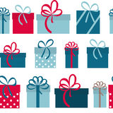 Geschenkbox-Feiertags-nahtloser Muster-Hintergrund Lizenzfreies Stockbild