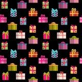 Geschenkbox-Feiertags-nahtloser Muster-Hintergrund Lizenzfreies Stockfoto