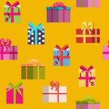 Geschenkbox-Feiertags-nahtloser Muster-Hintergrund Stockfoto