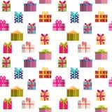 Geschenkbox-Feiertags-nahtloser Muster-Hintergrund Stockbild