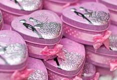 Geschenkbox heartfor Hochzeitsvalentinstag Lizenzfreies Stockbild
