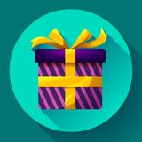 Geschenkbox-Ikonen-flacher Vektor Lizenzfreies Stockbild