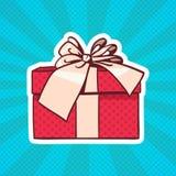 Geschenkbox-Knall-Art Retro Style Of Realistic-Geschenk mit Band und Bogen auf Dots Background Lizenzfreies Stockbild