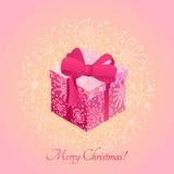 Geschenkbox mit Band Entwurf Grafische Schablone Stockfotos