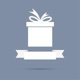 Geschenkbox mit Band Flaches Design Stockbild