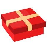 Geschenkbox mit Band Flaches Design Lizenzfreie Stockfotografie