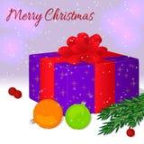 Geschenkbox mit einem roten Band und einem Bogen Frohe Weihnachten und guten Rutsch ins Neue Jahr-Karte oder -einladung Weihnacht Lizenzfreies Stockbild