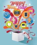 Geschenkbox mit guten Rutsch ins Neue Jahr-Text und verschiedenen Ikonen Stockfoto