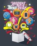 Geschenkbox mit guten Rutsch ins Neue Jahr-Text und verschiedenen Ikonen Stockbild