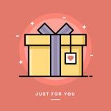 Geschenkbox mit Herztag, dünne Linie Fahne des flachen Designs Lizenzfreies Stockfoto