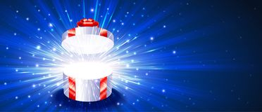 Geschenkbox-offene Feuerwerks-Explosions-magischer helle Strahln-Hintergrund Chr Stockfoto