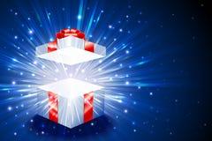 Geschenkbox-Quadrat-offenes Explosions-Feuerwerks-Glanz-Hintergrund-Weihnachtsblau Stockbild