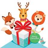 Geschenkbox und Rotwild, Fox, Löwe, Vogel lizenzfreie abbildung