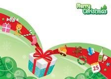 Geschenkbox und Verzierungen Stockfotografie