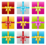 Geschenkboxen, Band, Feier Lizenzfreie Stockbilder