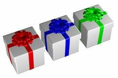 Geschenkboxen banden Band mit einem Bogen Lizenzfreies Stockbild