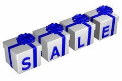Geschenkboxen banden Band mit einem Bogen mit Wortverkauf Lizenzfreies Stockbild