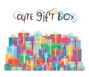 Geschenkboxen für Ihre Förderung entwerfen - vector Illustration Stockfotografie