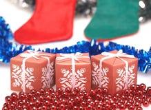 Geschenkboxen für Weihnachten Stockbild