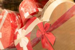 Geschenkboxen für Weihnachten und neues Jahr Stockbild