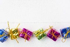Geschenkboxen für Weihnachtshintergrund Lizenzfreies Stockbild