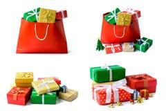 Geschenkboxen im roten Taschenisolat Stockbilder