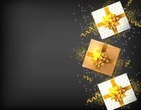 Geschenkboxen mit goldenem Bogen Vektor realistisch Dunkler Hintergrund confeti Schein Produktplatzierungsspott oben Entwurf lizenzfreie abbildung