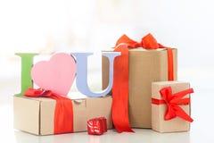 Geschenkboxen mit ich liebe dich Stockbild