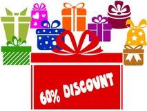 Geschenkboxen mit 60 PROZENT RABATT-Text Stockfotos