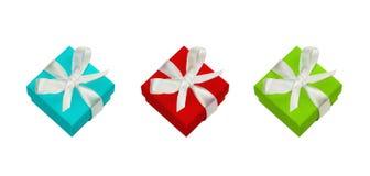 Geschenkboxen mit weißem Satinbogen Lizenzfreies Stockbild