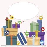Geschenkboxen und nette Vögel Stockfotografie