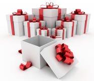 Geschenkboxen und offene Geschenkbox Stockbilder