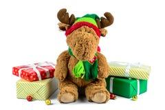 Geschenkboxen und Puppenisolat Lizenzfreie Stockfotos