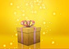 Geschenkboxgelb Stockfotografie