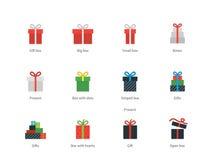 Geschenkboxikonen auf weißem Hintergrund Stockfotografie