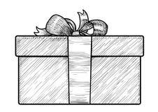 Geschenkboxillustration, Zeichnung, Stich, Tinte, Linie Kunst, Vektor Lizenzfreies Stockfoto