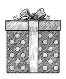 Geschenkboxillustration, Zeichnung, Stich, Tinte, Linie Kunst, Vektor Stockfotos