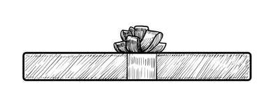 Geschenkboxillustration, Zeichnung, Stich, Tinte, Linie Kunst, Vektor Lizenzfreie Stockfotografie