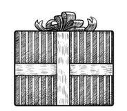 Geschenkboxillustration, Zeichnung, Stich, Tinte, Linie Kunst, Vektor Stockfoto