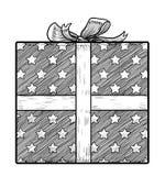 Geschenkboxillustration, Zeichnung, Stich, Tinte, Linie Kunst, Vektor Stockbilder