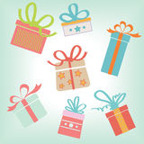 Geschenkboxsatz vektor abbildung