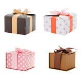 Geschenkboxweißhintergrund Stockfotos