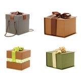Geschenkboxweißhintergrund Stockfoto