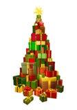 Geschenke in der Chritsmas Baum-Formabbildung Stockfotos