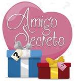 Geschenke für geheimes Freund-Spiel während des Liebes-und Freundschafts-Tages, Vektor-Illustration lizenzfreie abbildung